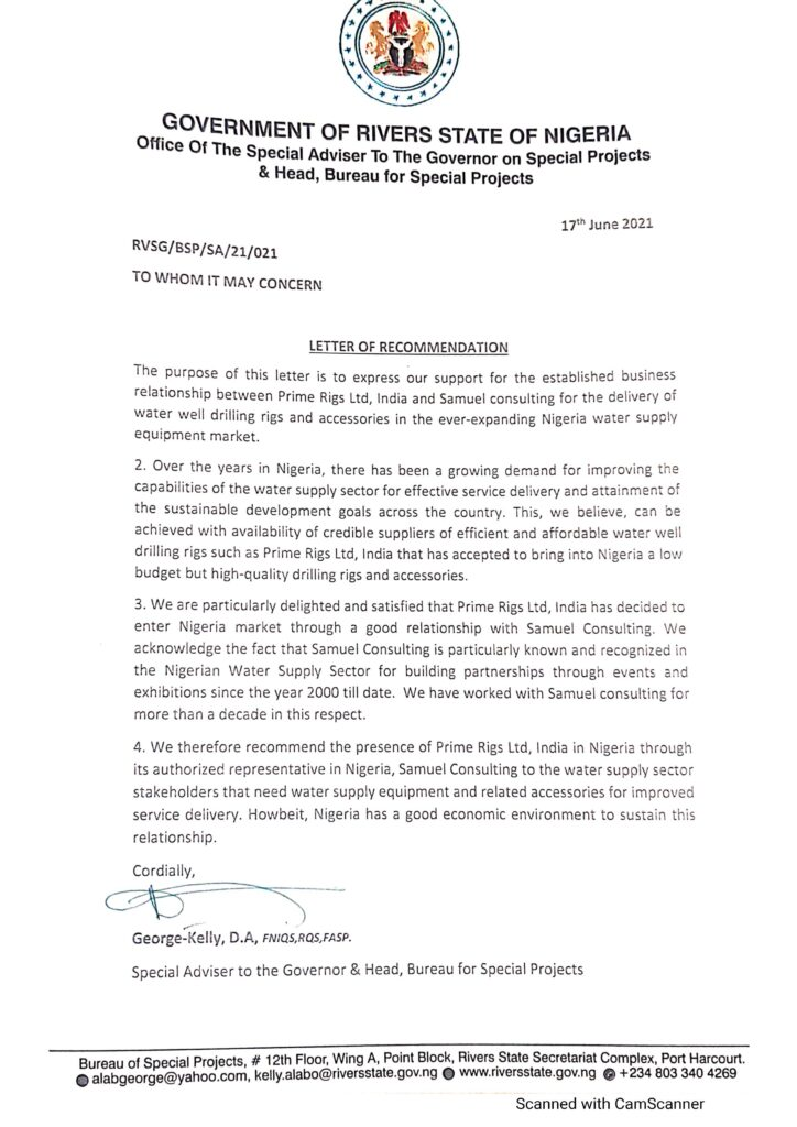 Government of Rivers State of Nigeria - Letter of Recommendation